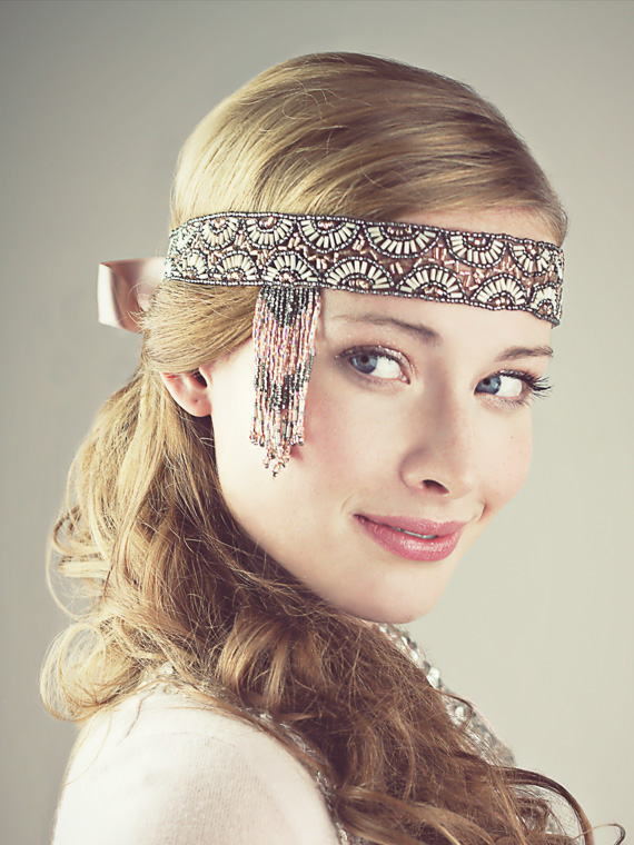 Champagne Pink and Pewter Beaded Flapper Headband   Accessories ... cb1687f418c