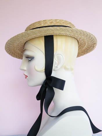 eb6681679f773 Gigi Straw Boater with Black Ribbon Ties   Hats   Deanna DiBene ...