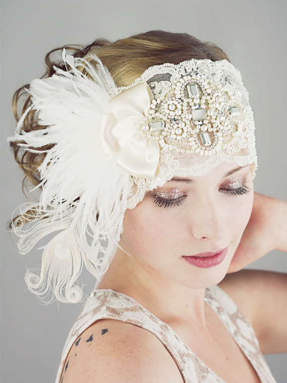 Gatsby Ivory Lace Flapper Feather Headband : Bridal - Flapper Hairstyles