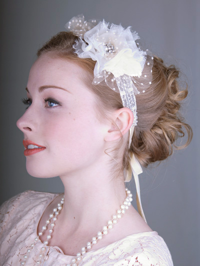 Silk Flower Bridal Headband With Rhinestones And Velvet Ribbon